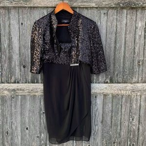 R&M Richards sequins dress with short jacket 12P